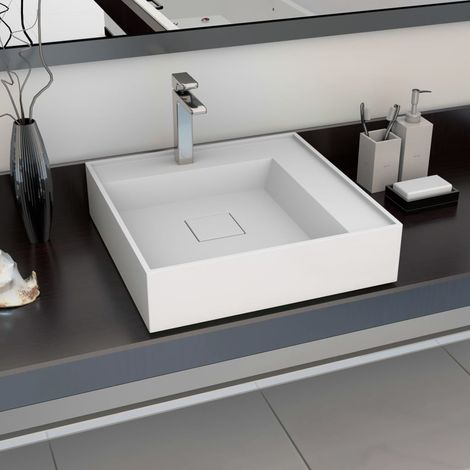 Hommoo Wash Basin 50x50x12.3 cm Mineral Cast/Marble Cast White