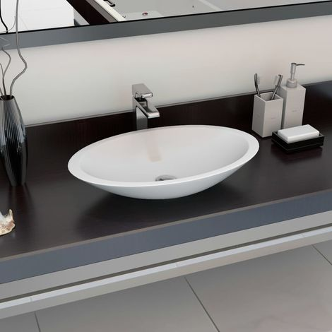 Hommoo Wash Basin 59.3x35.1x10.7 cm Mineral Cast/Marble Cast White