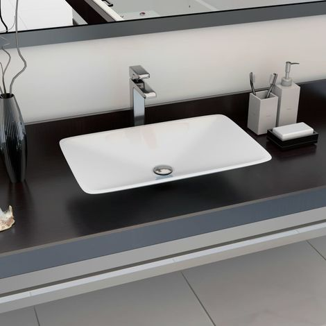 Hommoo Wash Basin 60x38x10 cm Mineral Cast/Marble Cast White
