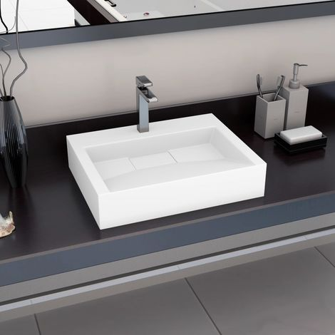 Hommoo Wash Basin 60x38x11 cm Mineral Cast/Marble Cast White