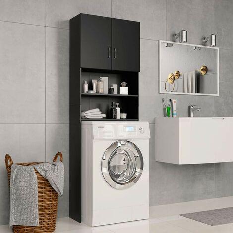 Hommoo Washing Machine Cabinet Black 64x25.5x190 cm Chipboard