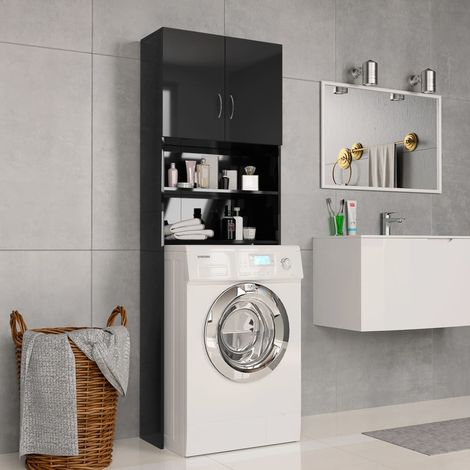 Hommoo Washing Machine Cabinet High Gloss Black 64x25.5x190 cm Chipboard