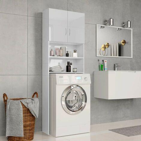 Hommoo Washing Machine Cabinet High Gloss White 64x25.5x190 cm Chipboard