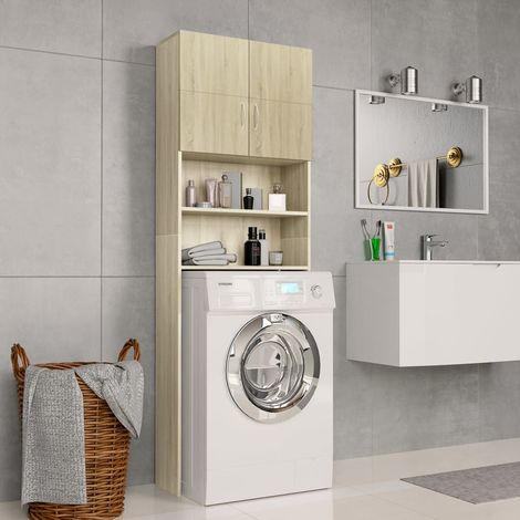 Hommoo Washing Machine Cabinet Sonoma Oak 64x25.5x190 cm Chipboard VD31059