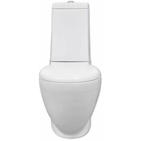 Hommoo WC Ceramic Toilet Bathroom Round Toilet Bottom Water Flow White QAH03837