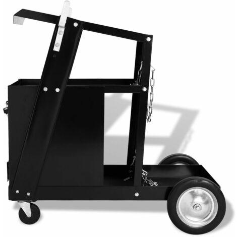 Hommoo Welding Cart with 4 Drawers Black QAH04486