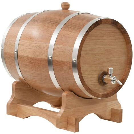 Hommoo Wine Barrel with Tap Solid Oak Wood 12 L VD30539