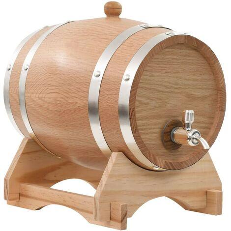 Hommoo Wine Barrel with Tap Solid Oak Wood 6 L VD30538
