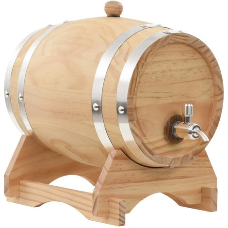 Hommoo Wine Barrel with Tap Solid Pinewood 6 L VD30541