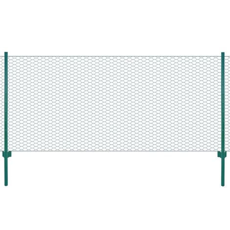 Hommoo Wire Mesh Fence with Posts Steel 25x0.5 m Green