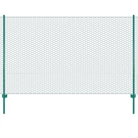 Hommoo Wire Mesh Fence with Posts Steel 25x1.5 m Green