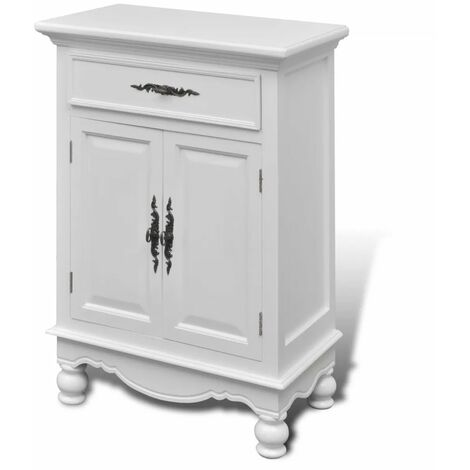Hommoo Wooden Cabinet with 2 Doors 1 Drawer White QAH08725