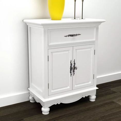 Hommoo Wooden Cabinet with 2 Doors 1 Drawer White VD08725