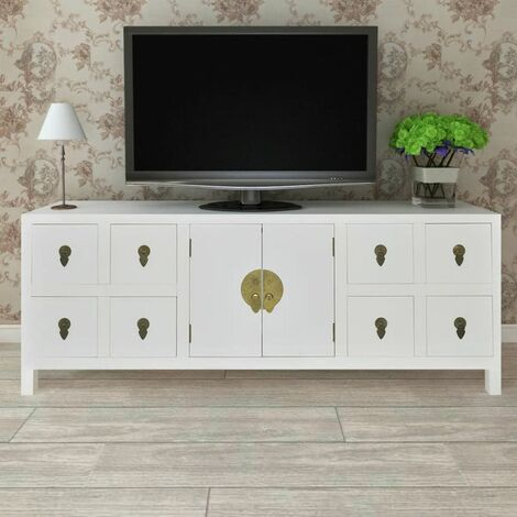 Hommoo Wooden Sideboard Asian Style with 8 Drawers and 2 Doors QAH08956