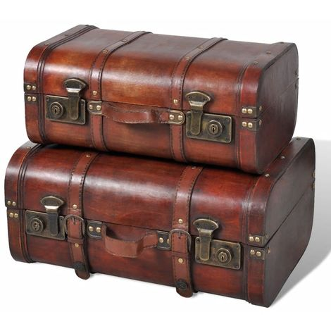 Hommoo Wooden Treasure Chest 2 pcs Vintage Brown