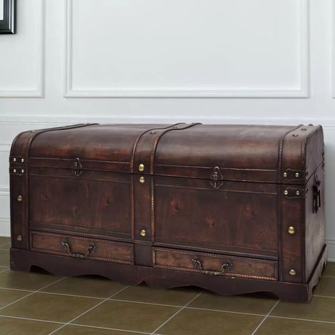 Hommoo Wooden Treasure Chest Large Brown