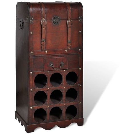 Hommoo Wooden Wine Rack for 9 Bottles with Storage