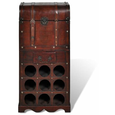 Hommoo Wooden Wine Rack for 9 Bottles with Storage QAH08236