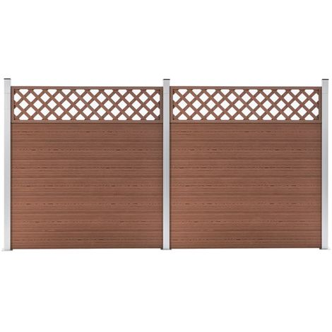 Hommoo WPC Fence Set 2 Square 353x185 Brown