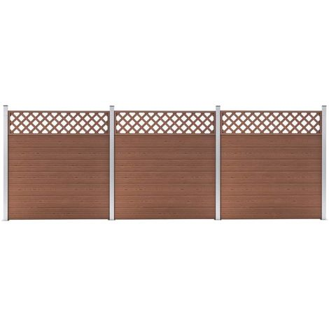 Hommoo WPC Fence Set 3 Square 526x185 Brown