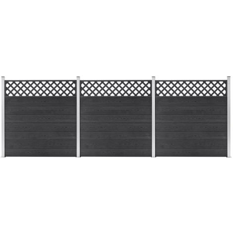 Hommoo WPC Fence Set 3 Square 526x185 Grey VD39964