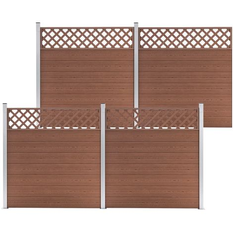 Hommoo WPC Fence Set 4 Square 699x185 Brown