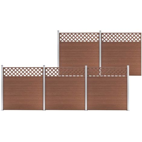 Hommoo WPC Fence Set 5 Square 872x185 Brown