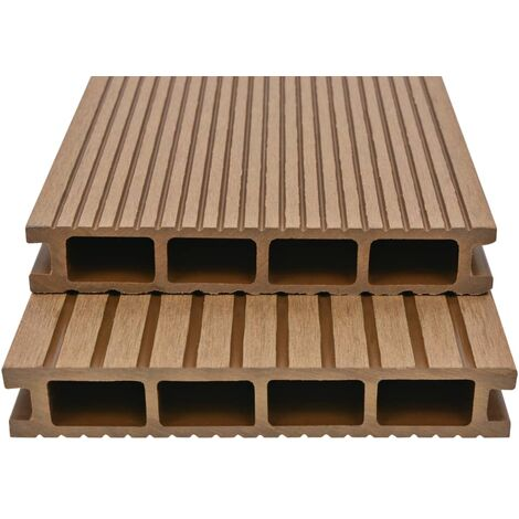 Hommoo WPC Hollow Decking Boards with Accessories 36 m2 2.2 m Teak QAH18608