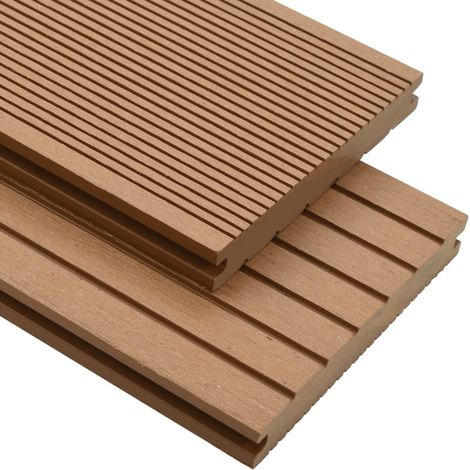Hommoo WPC Solid Decking Boards with Accessories 15 m2 4 m Teak VD18594