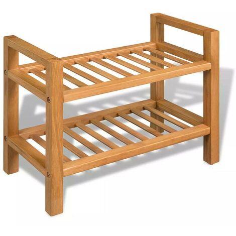 Hommoo Zapatero con dos estantes madera de roble maciza 49,5x27x40 cm