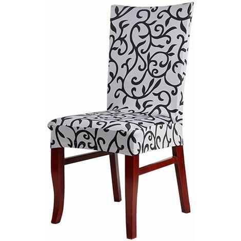 Honana 5 couleurs Vintage Style rétro Rhombic Paddy Stretch Slipcover Salle à manger Fête de mariage Chaise courte Housse de siège (Blanc Noir)