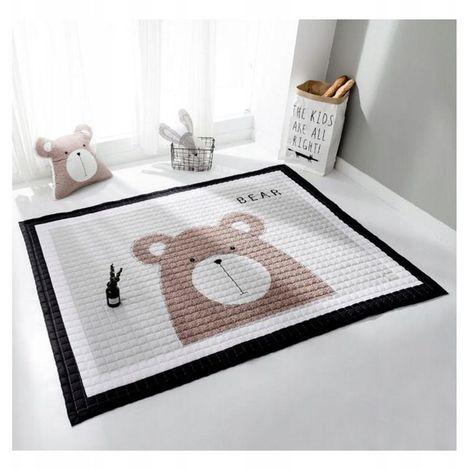 HONEY | Tapis de sol chambre bébé/enfant | Dimensions: 150x100 | Style scandinave | Coussin assorti inclus | Matelas de jeu/éveil | Marron/Blanc/Noir - Marron/Blanc/Noir