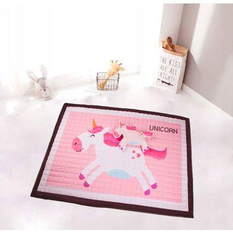 HONEY | Tapis de sol chambre bébé/enfant | Dimensions: 150x100 | Style scandinave | Coussin assorti inclus | Matelas de jeu/éveil | Rose/Blanc - Rose/Blanc