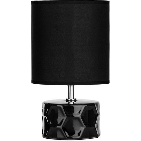 Honeycomb Table Lamp Black Ceramic Base - Stunning Black Fabric Shade