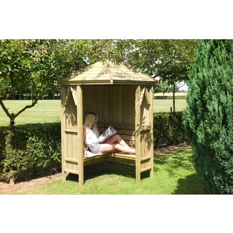 "main image of ""Honeysuckle Corner Arbour Garden Arch Seat Approx 4 x 4 Feet"""
