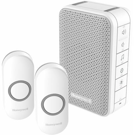 Honeywell DC313NFB Front & Back Door Doorbell Kit (1 Portable, 2 Pushes)