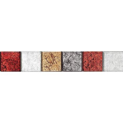 Hong Kong Red Gold Silver Glass Mosaic Wall Tile Strips Border Bathroom MB0072