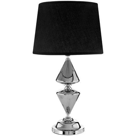 Honor Glass / Metal, Silver Table Lamp 52cm, Black Shade