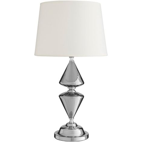 Honor Glass / Metal, Silver Table Lamp 52cm, White Shade