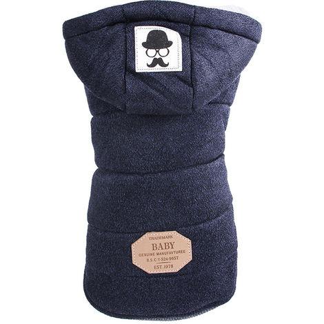 Hooded Dog Coat For Warm Winter Short Sleeve Coat 2Xl Dark Blue