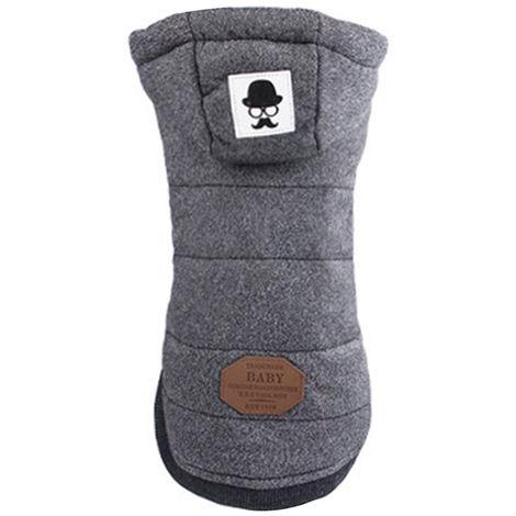 Hooded Dog Coat For Warm Winter Short Sleeve Coat Grey , 2XL