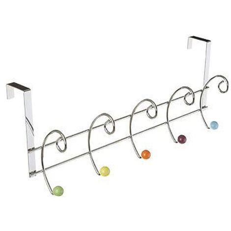 Hook over door hanger,10 hook,multi-coloured ceramic