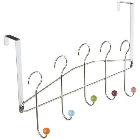 Hook over door hanger,5 hook,multi-coloured ceramic