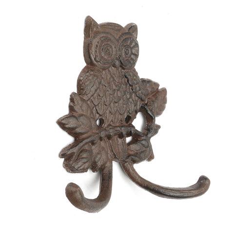 Hooks Iron Owl Mural Vintage Style Mounted Coat Keychain Decor