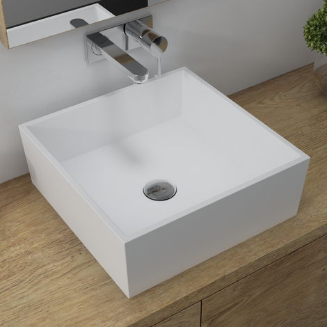 Horizon Mars 426mm Square Polymarble Countertop Basin In White
