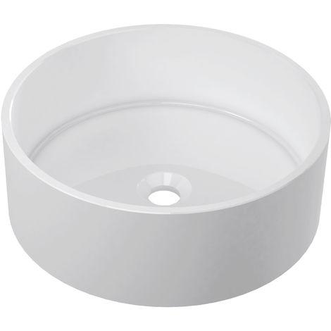 Horizon Mercury 426mm Round Polymarble Countertop Basin In White