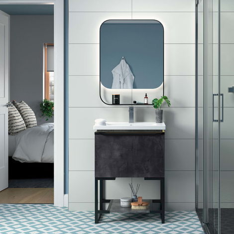 Horizon Oslo 615mm Floor Standing Vanity Unit Inc Basin Grey Metal