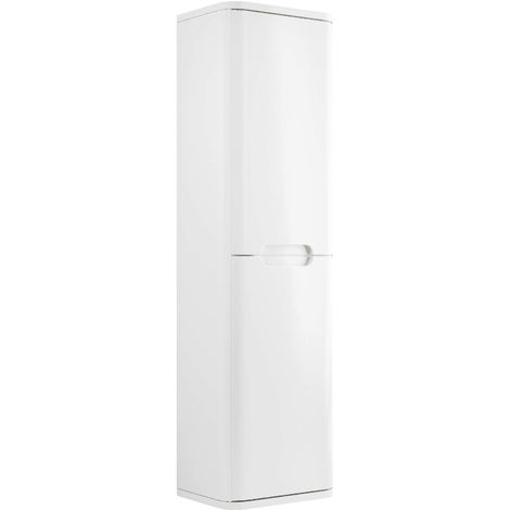 Horizon Tahoe 2 Door Wall Hung Tall Cupboard Unit 1200 x 350 in White Gloss