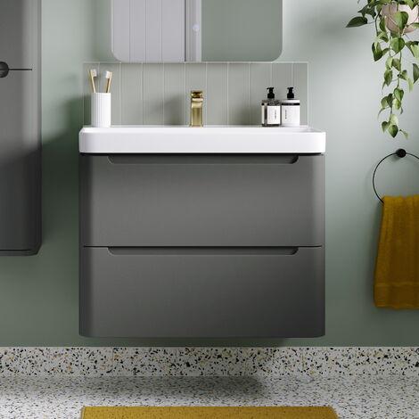Horizon Tahoe 500mm 2 Drawer Wall Hung Cloakroom Vanity Unit and Basin Matt Grey