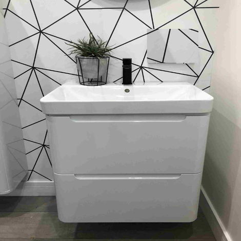 Horizon Tahoe 600mm 2 Drawer Wall Hung Vanity Unit and Basin in White